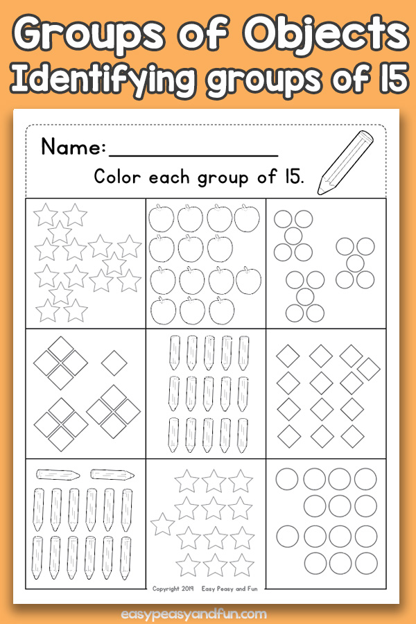 Counting Groups of Objects Worksheets - Fifteen