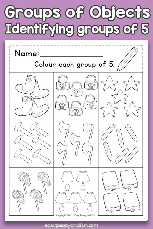 Counting Groups of Objects Worksheets - Five