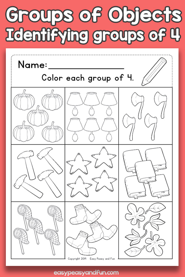 Counting Groups of Objects Worksheets - Four