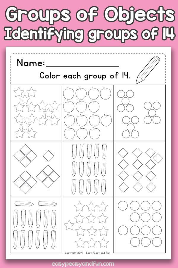 Counting Groups of Objects Worksheets - Fourteen