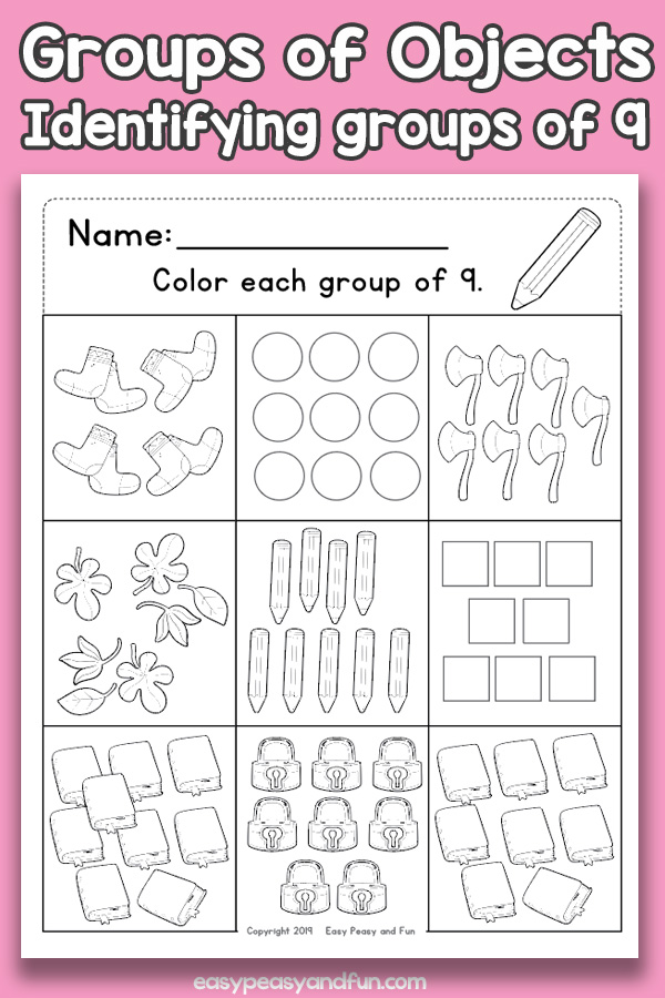 Counting Groups of Objects Worksheets - Nine