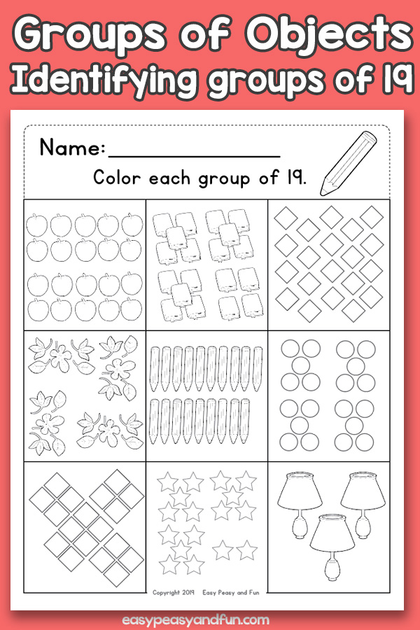 Counting Groups of Objects Worksheets - Nineteen