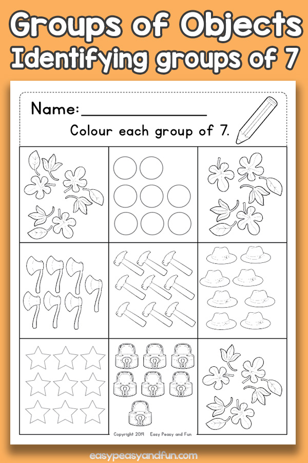 Counting Groups of Objects Worksheets - Seven