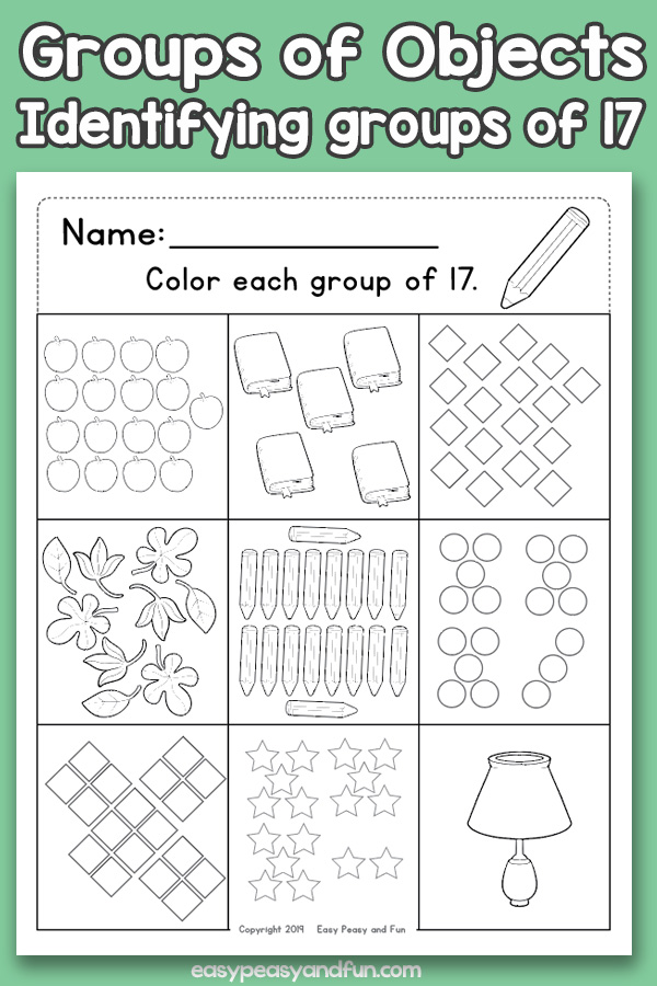 Counting Groups of Objects Worksheets - Seventeen