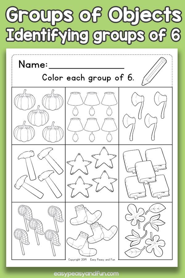 Counting Groups of Objects Worksheets - Six