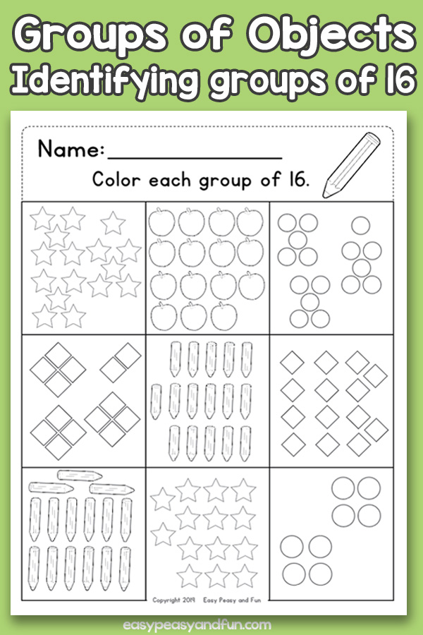 Counting Groups of Objects Worksheets Sixteen