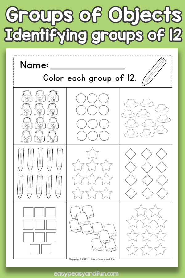 Counting Groups of Objects Worksheets - Twelve
