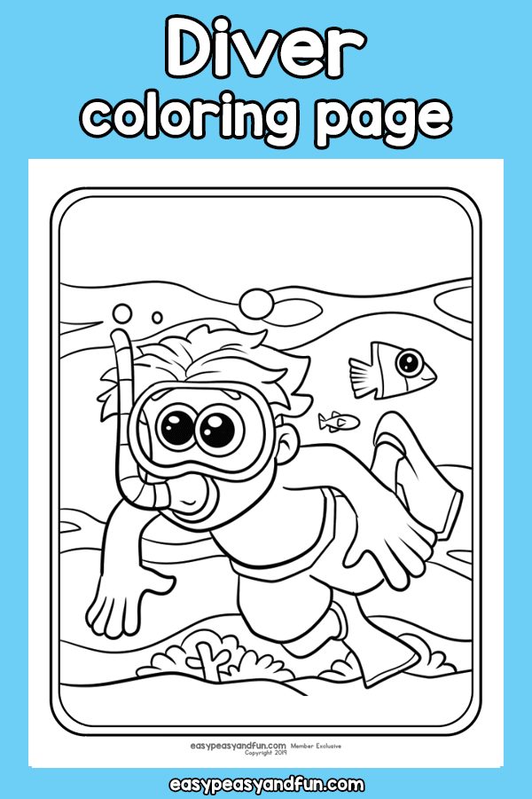 Diver Coloring Page