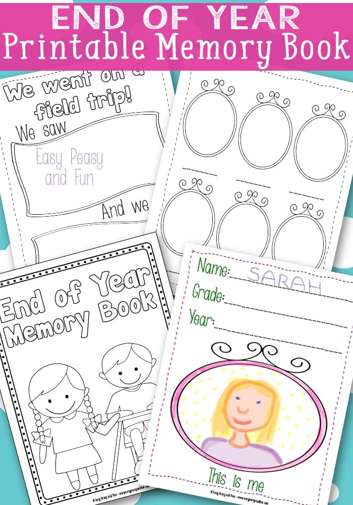 End of Year Memory Book Printable