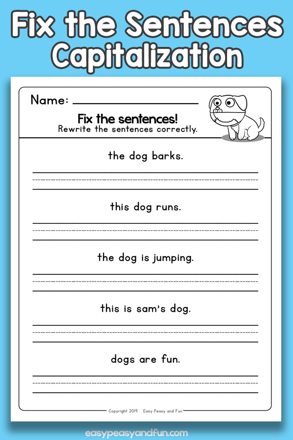 Fix the Sentences Capitalization Worksheets