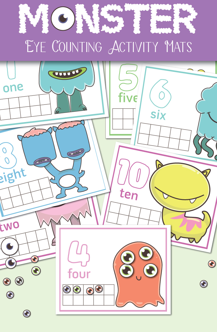 Monster Eye Counting Activity Mats