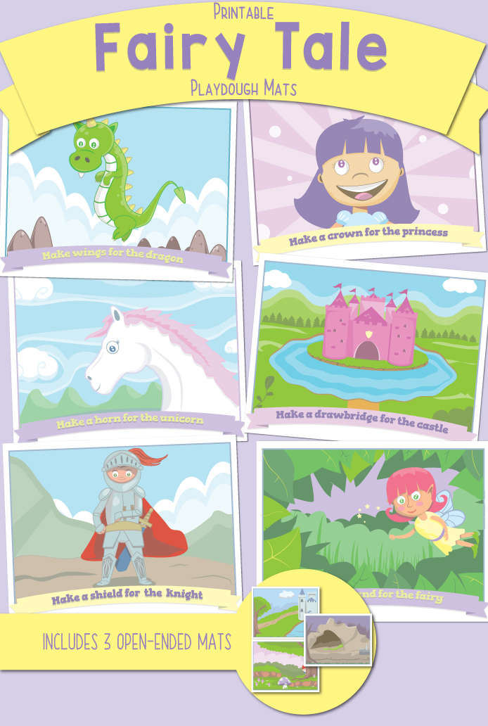 Printable Fairy Tale Playdough Mats