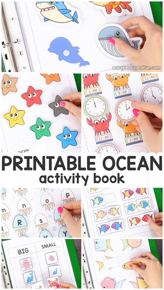 Printable Ocean animals Activity Book for Preschool and Kindergarten