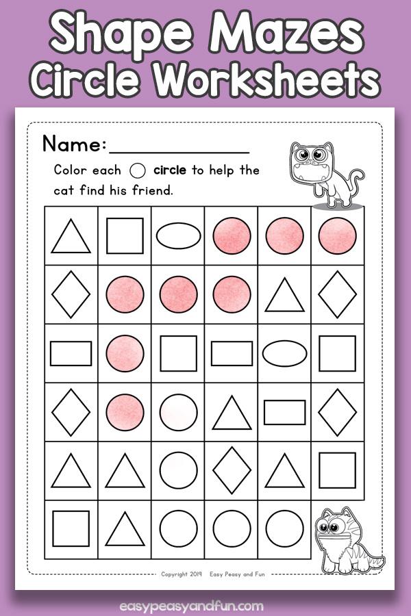 Shapes Mazes Circle Worksheets