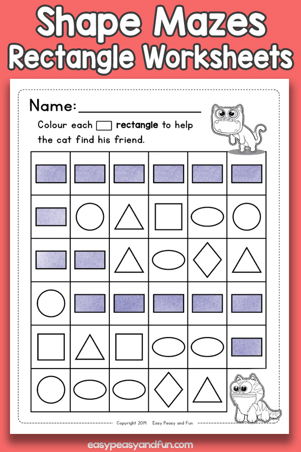 Shapes Mazes Rectangle Worksheets