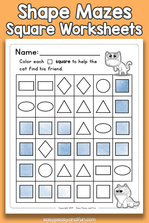Shapes Mazes Square Worksheets - Shapes Worksheets