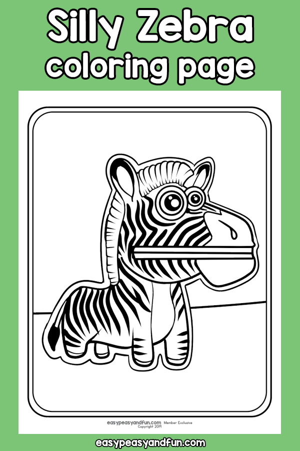 Silly Zebra Coloring Page
