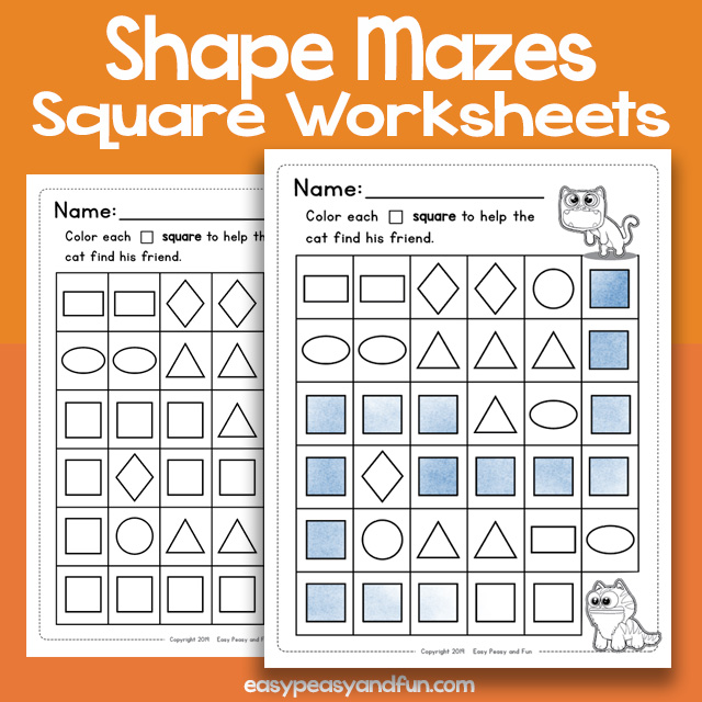 Shape Mazes Square Worksheets – Easy Peasy and Fun Membership