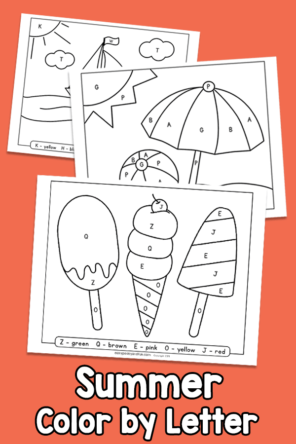 Summer Color by Letter - Preschool Worksheets