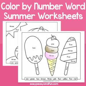 Summer Color by Number Word