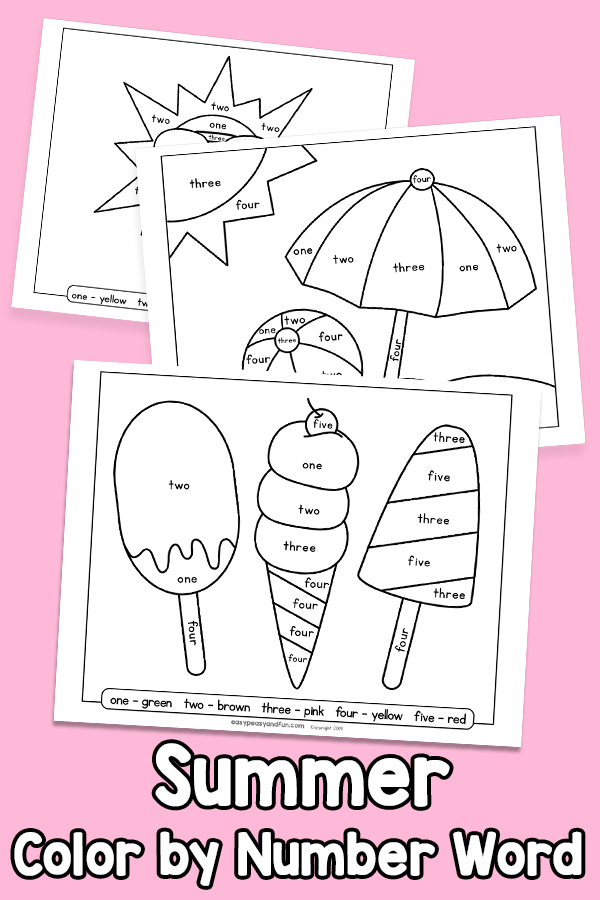 Summer Color by Number Word - Worksheets
