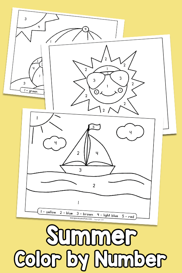 Summer Color by Number - Worksheets