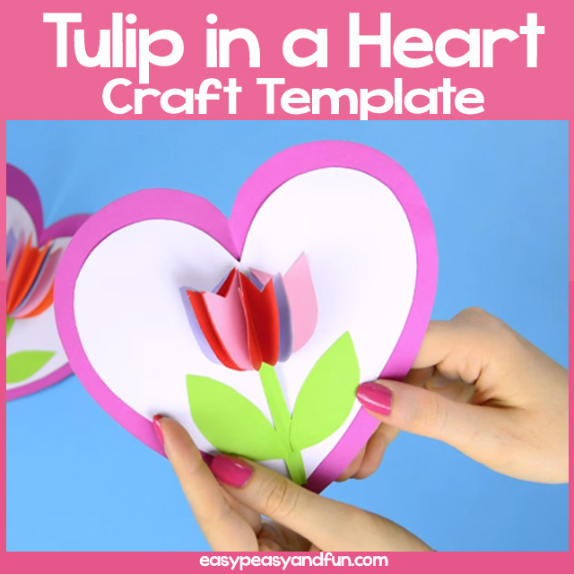 Tulip in a Heart Card Template