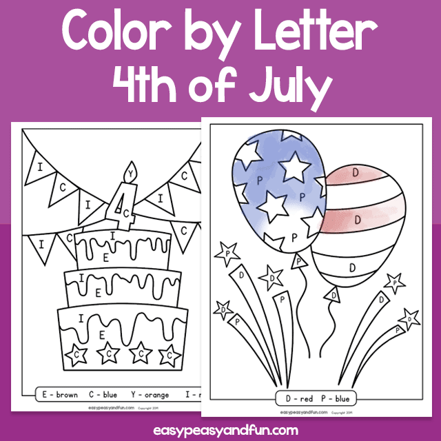 4th of July Color by Letter Worksheets – Easy Peasy and Fun ...