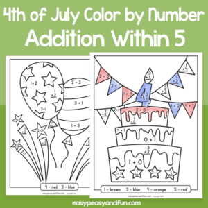 4th of July - Color by Number - Addition within 5 for Kids