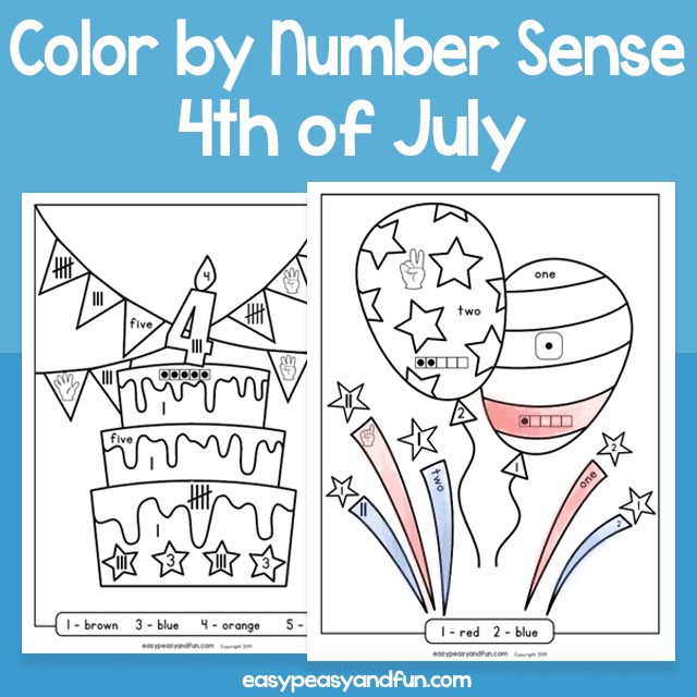 4th of July Color by Number Sense for Kids