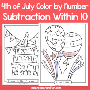4th of July Color by Number Subtraction within 10 for Kids