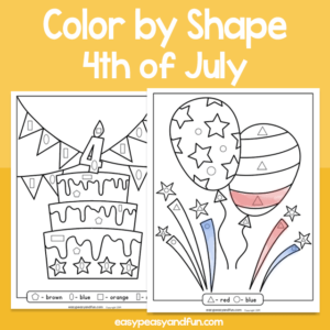 4th of July Color by Shape for Kids