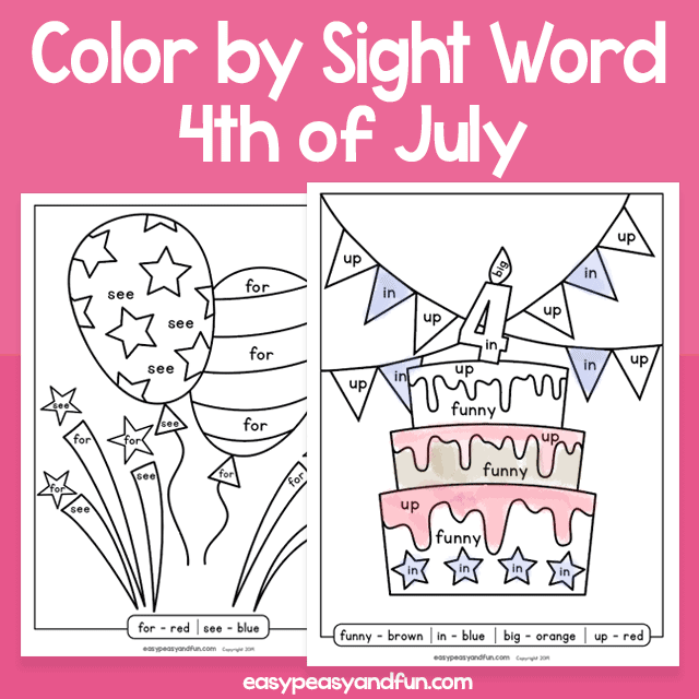 4th of July Color by Sight Word for Kids