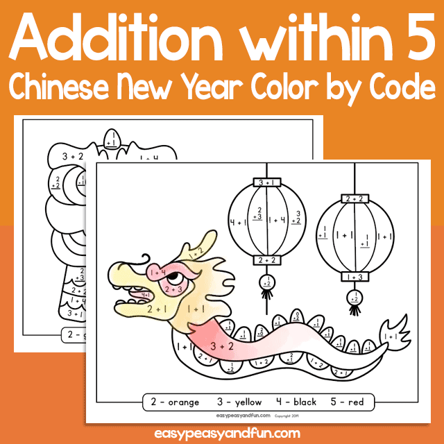 Chinese New Year Color by Code Addition within 5 for Kids