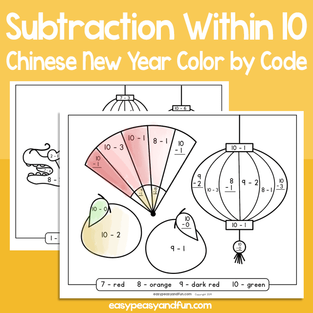 Chinese New Year Color by Code Subtraction within 10 for Kids