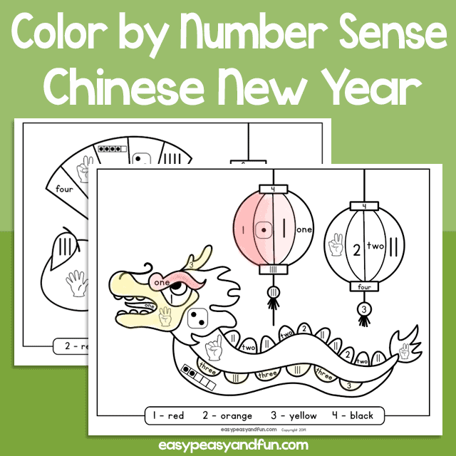 Chinese New Year Color by Number Sense for Kids