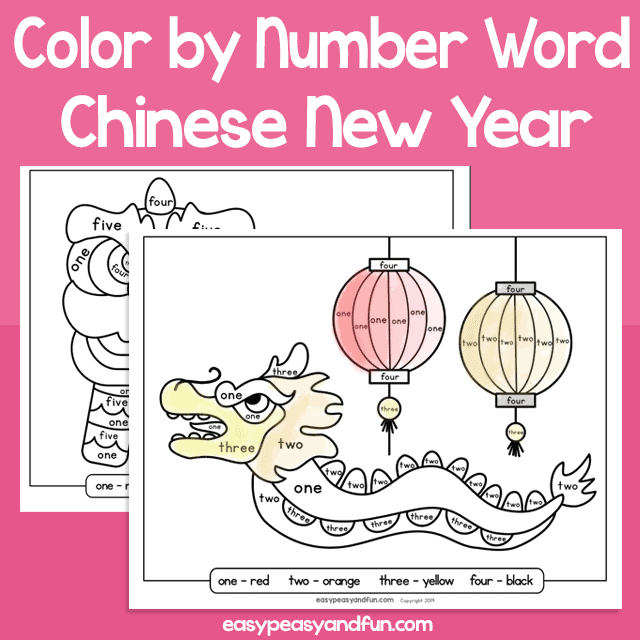 Chinese New Year Color by Number Word for Kids