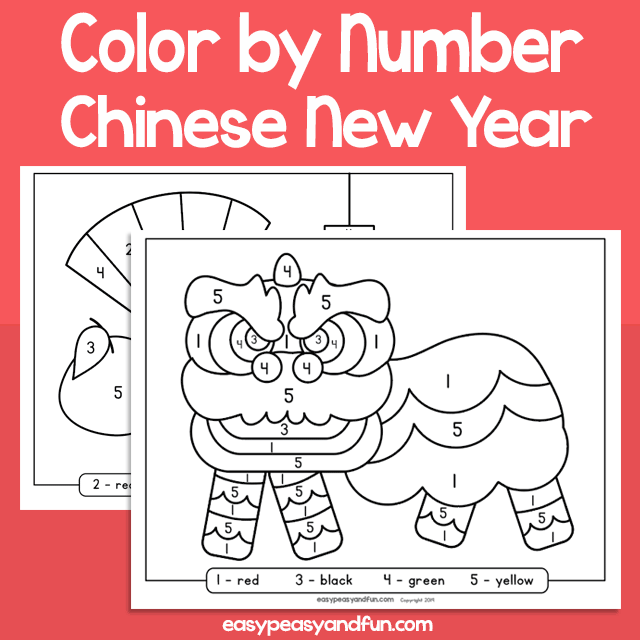 Chinese New Year Color by Number for Kids