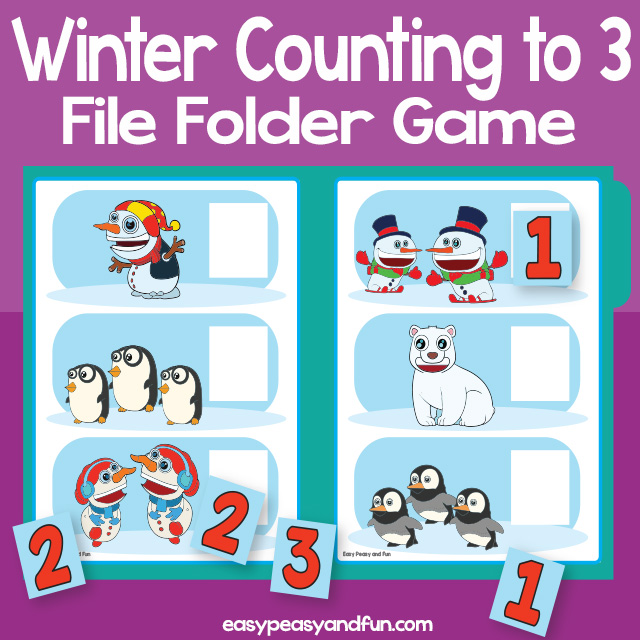 Counting Winter file folder game - counting to 3