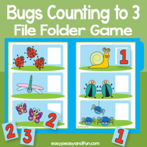 Counting bugs file folder game - counting to 3