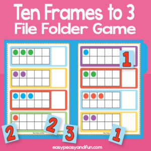 Counting to 3 ten frames file folder game