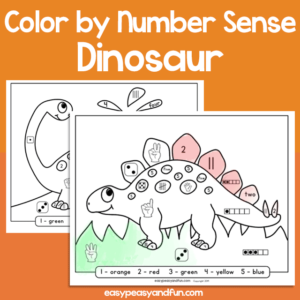 Dinosaur Color by Number Sense for Kids