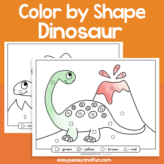 Dinosaur Color by Shape for Kids