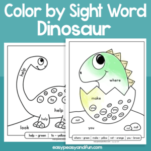 Dinosaur Color by Sight Word for Kids