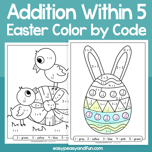 Easter Color by Code Addition within 5 for Kids