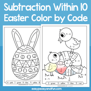 Easter Color by Code Subtraction within 10 for Kids