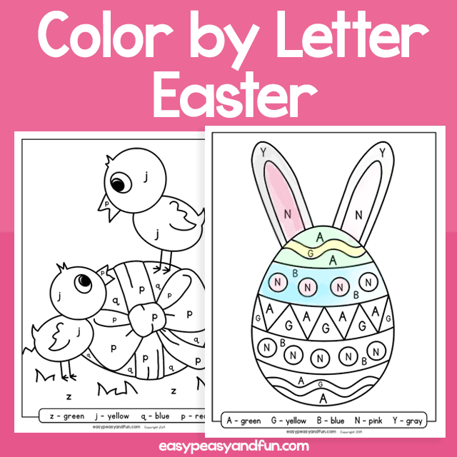 Easter Color by Letter for Kids