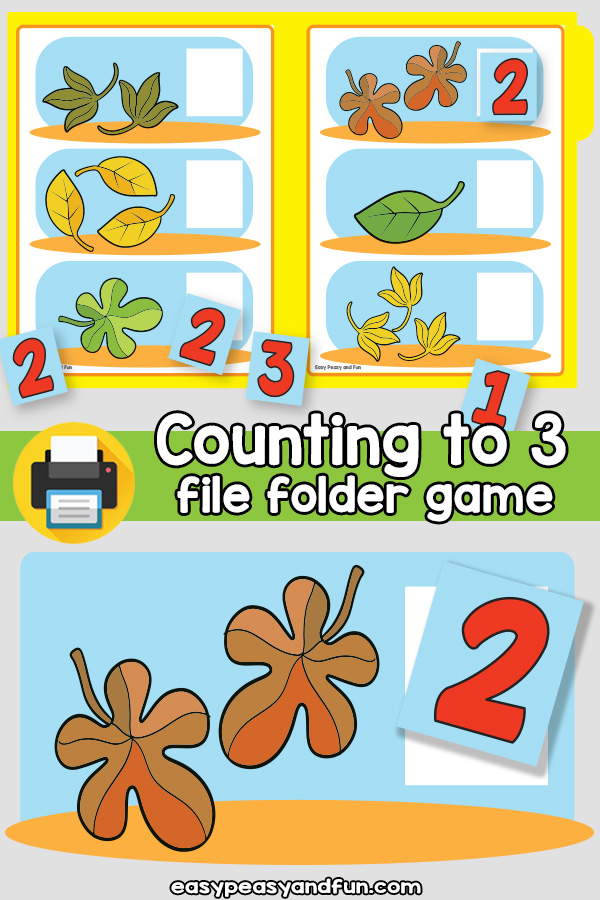 Leaves Counting to 3 File Folder game for preschool and kindergarten
