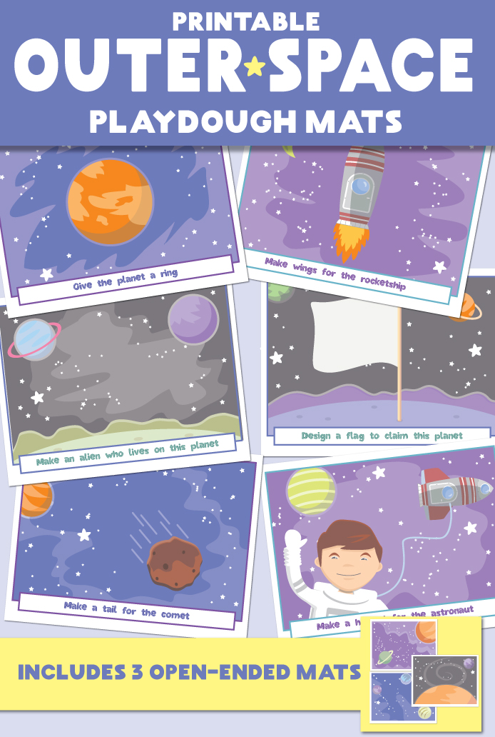 Outer Space Play Dough Mats Printable