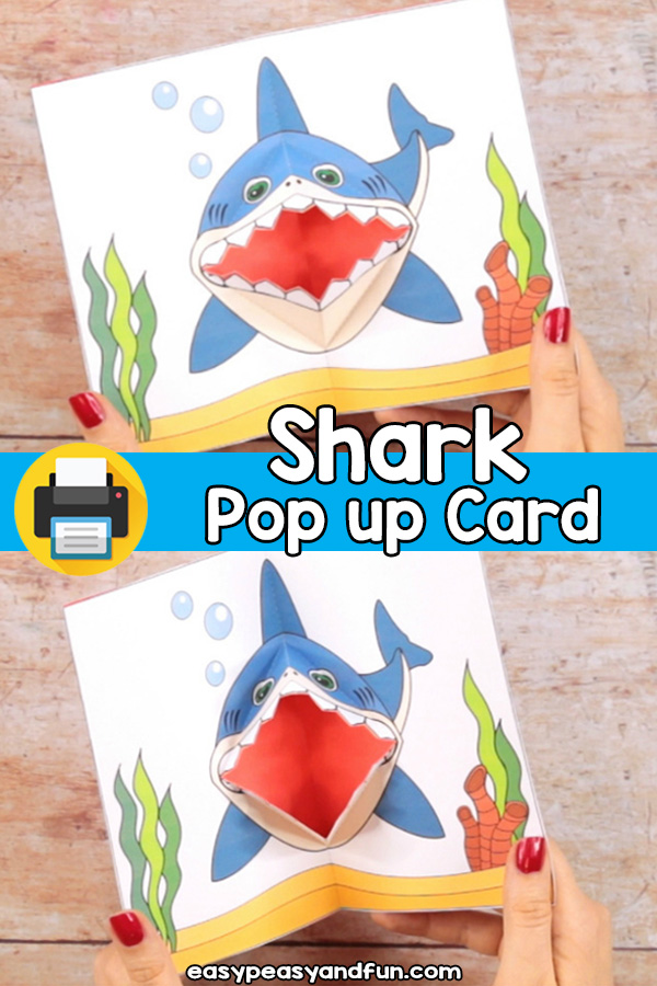 Shark Pop Up Card Printable Template